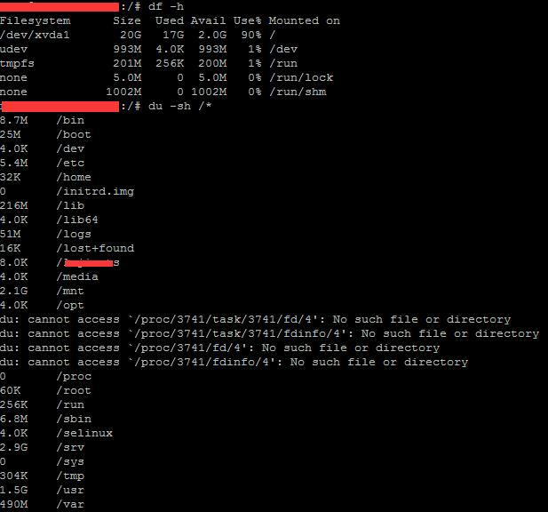 阿里云服务器 ECS Linux 主机删除文件后磁盘空间显示不变