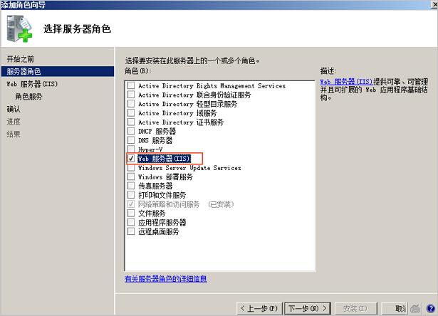 选择 Web 服务器(IIS)